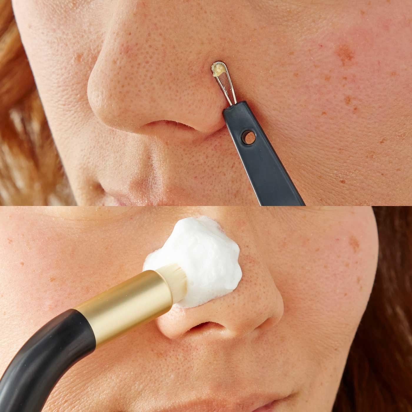 極細ブラシ&押し出しループの2ステップで簡単鼻ケア! 2-way角栓ブラシ