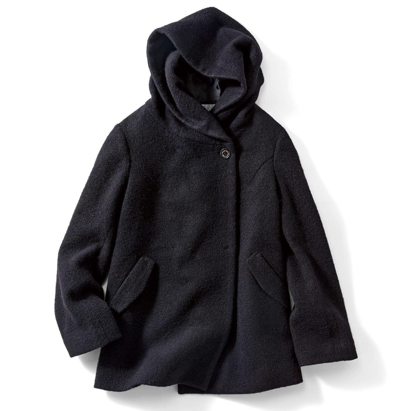 IEDIT ウールがたっぷり入って暖か スライバーニット素材の軽やかフーデッドショート丈コート〈ブラック〉