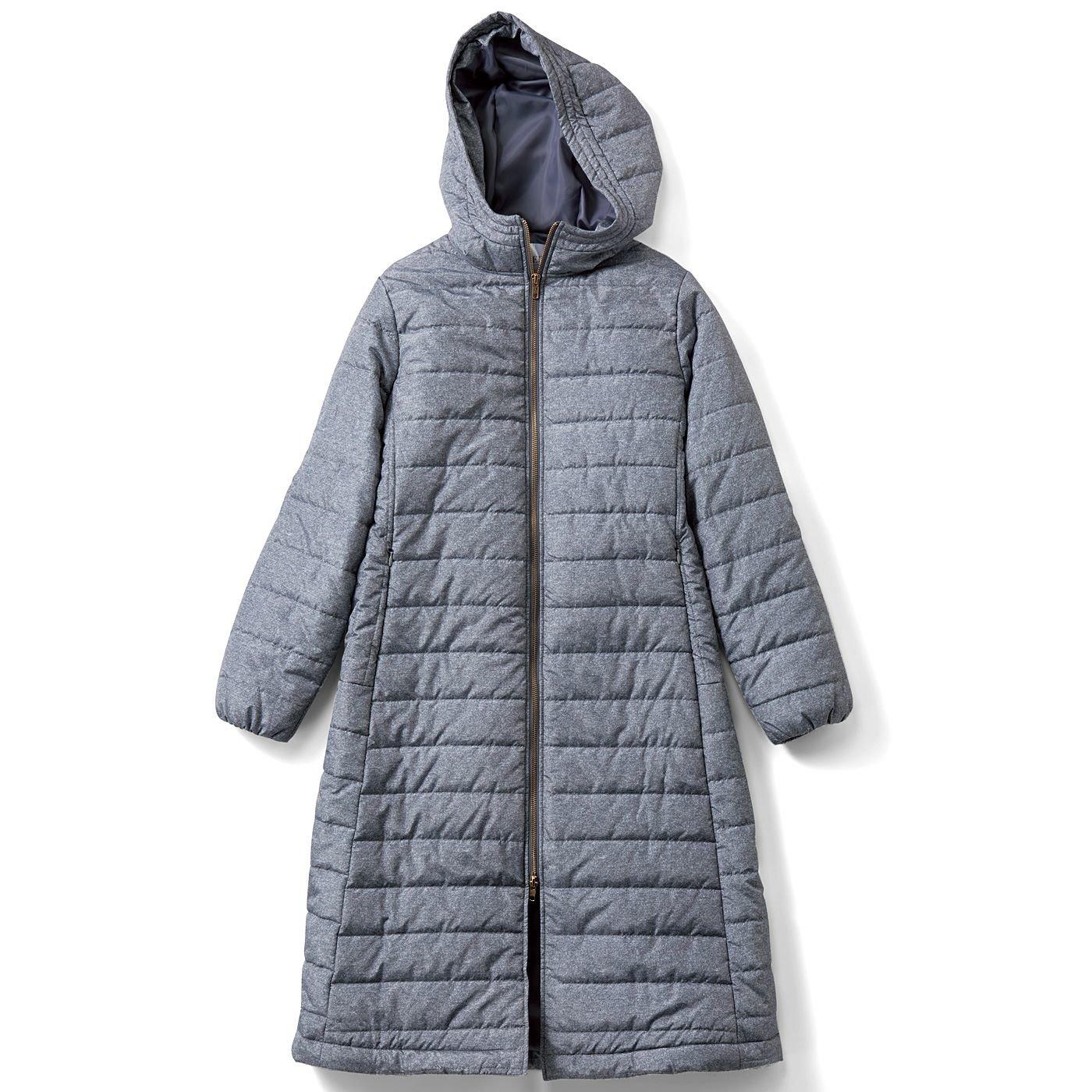 IEDIT ロング丈ですっぽり包む サーモライト(R)中わた 着やせコート〈ライトグレー〉