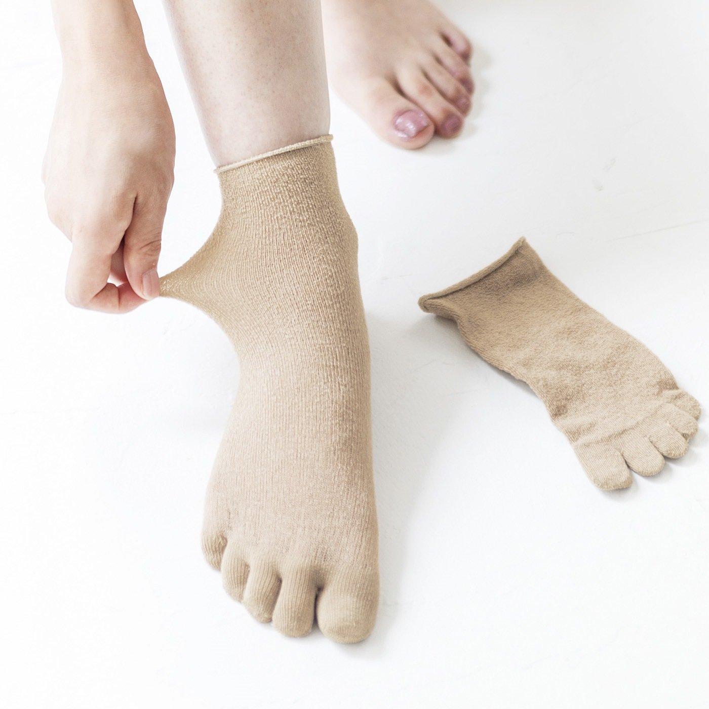 【2足セット】シルク80%! のびのびフィットでむれ対策 5本指インナーソックスの会