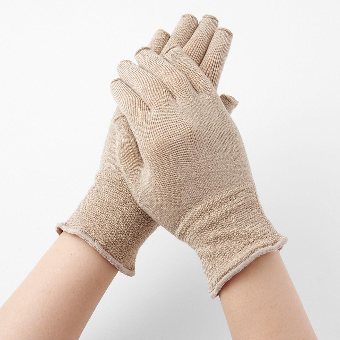 【2組セット】寝ている間にハンドケア ホールガーメント(R)シルク混の指あき手袋の会