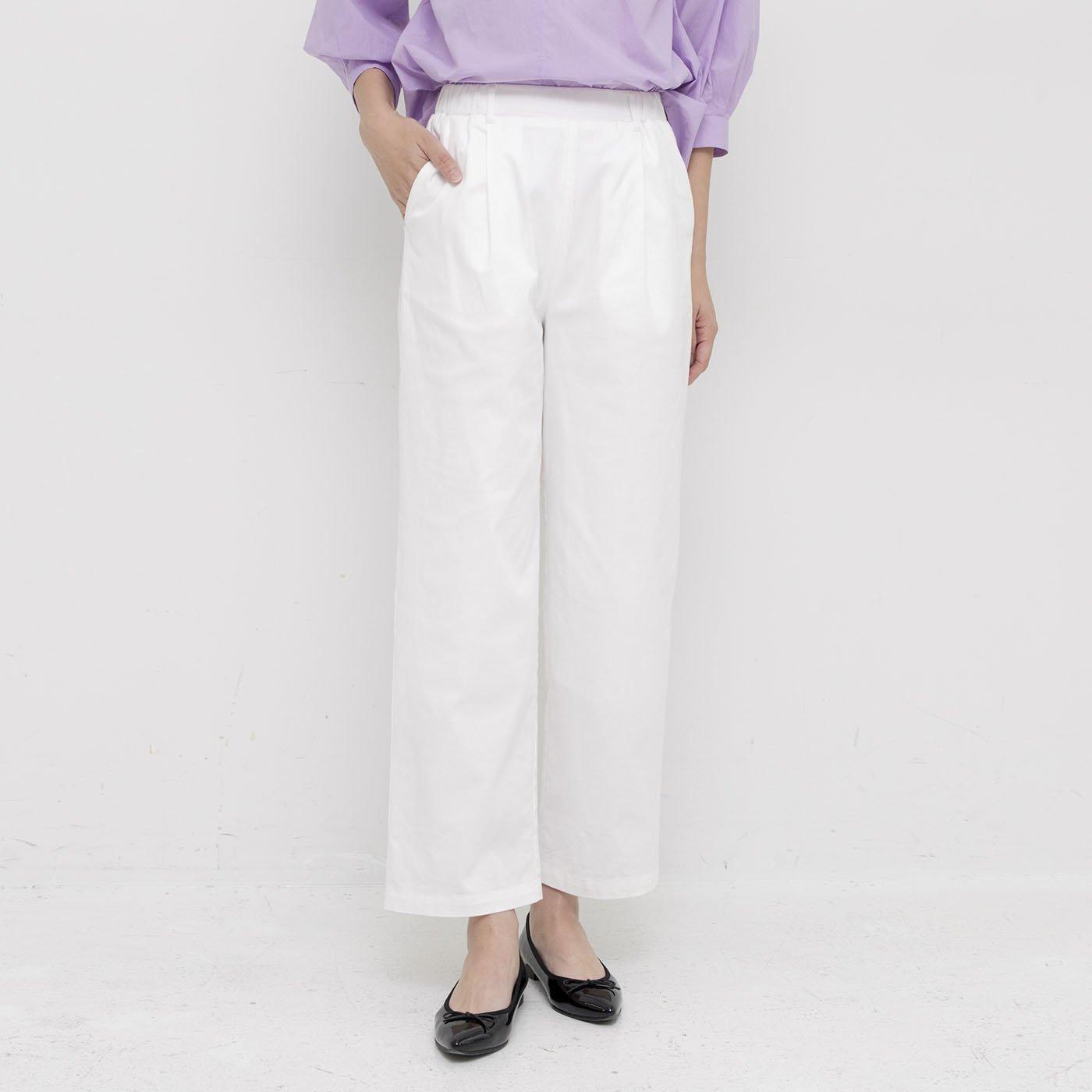フラウグラット 裏地付きで透けにくい シルエットをほどよく隠す 満足ホワイトパンツ
