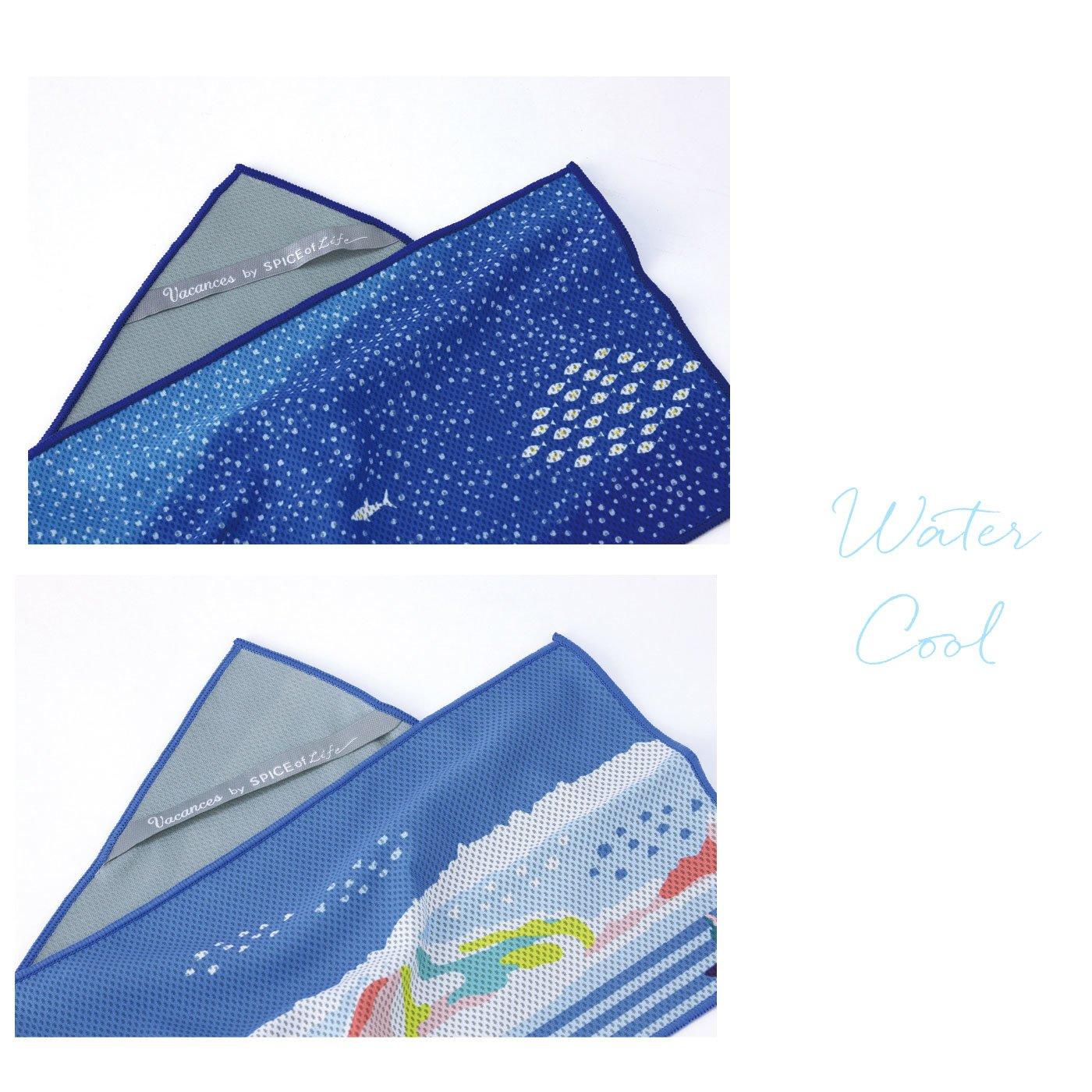 ひんやり涼しい ウォータークールミニタオル 夏を楽しむデザイン2枚セット