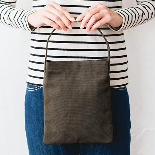 倉敷帆布を使った 大人のための縦型バッグ