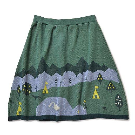 キャンプ場の景色が広がる ジャカードニットスカート(グリーン)