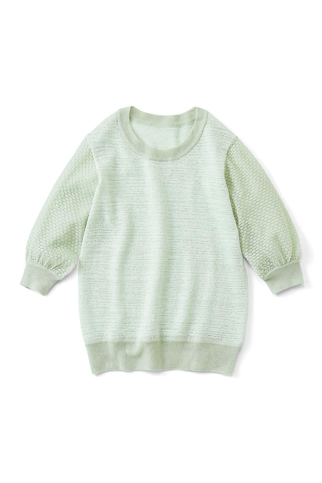 【ミント】ほんのり透ける感じがかわいいお袖。袖口やすその太めリブがいい感じのアクセントに。