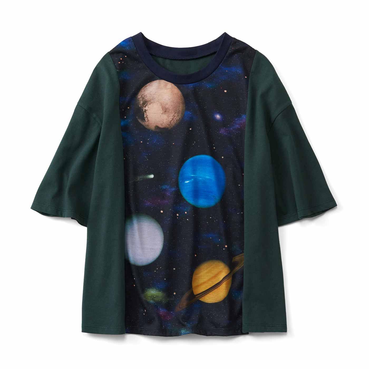 宇宙プリントのリメイク風Tシャツ