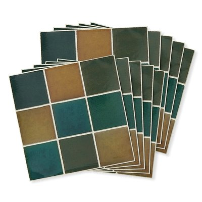 RoomClip商品情報 - 貼ってはがせて汚れがふき取りやすい 30cm角のスクエアタイル壁紙シール〈グリーンxベージュ〉の会 フェリシモ FELISSIMO