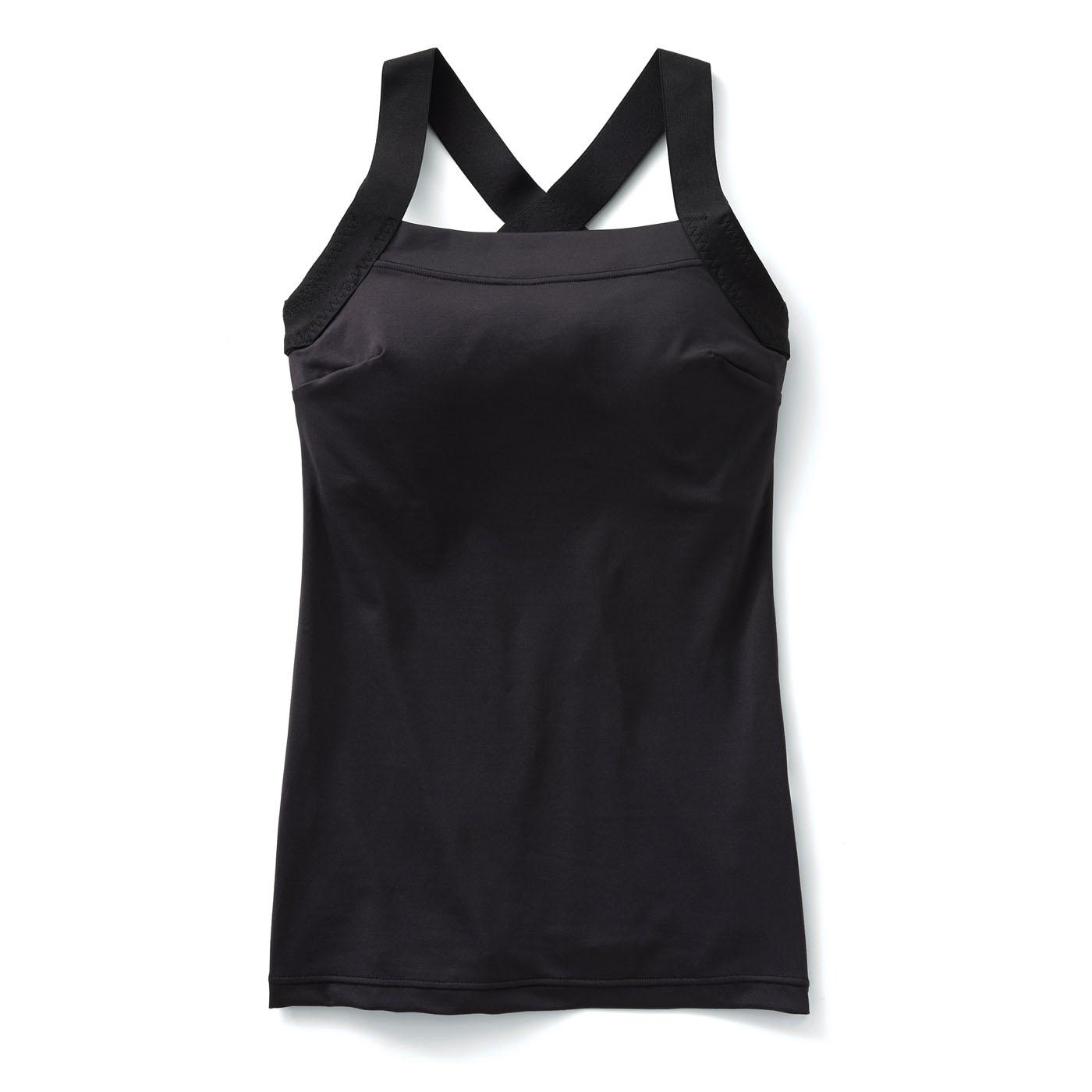 肩甲骨をらくらく意識で背筋ピン! ヨガ気分ブラインナー〈吸汗速乾/ブラック〉の会