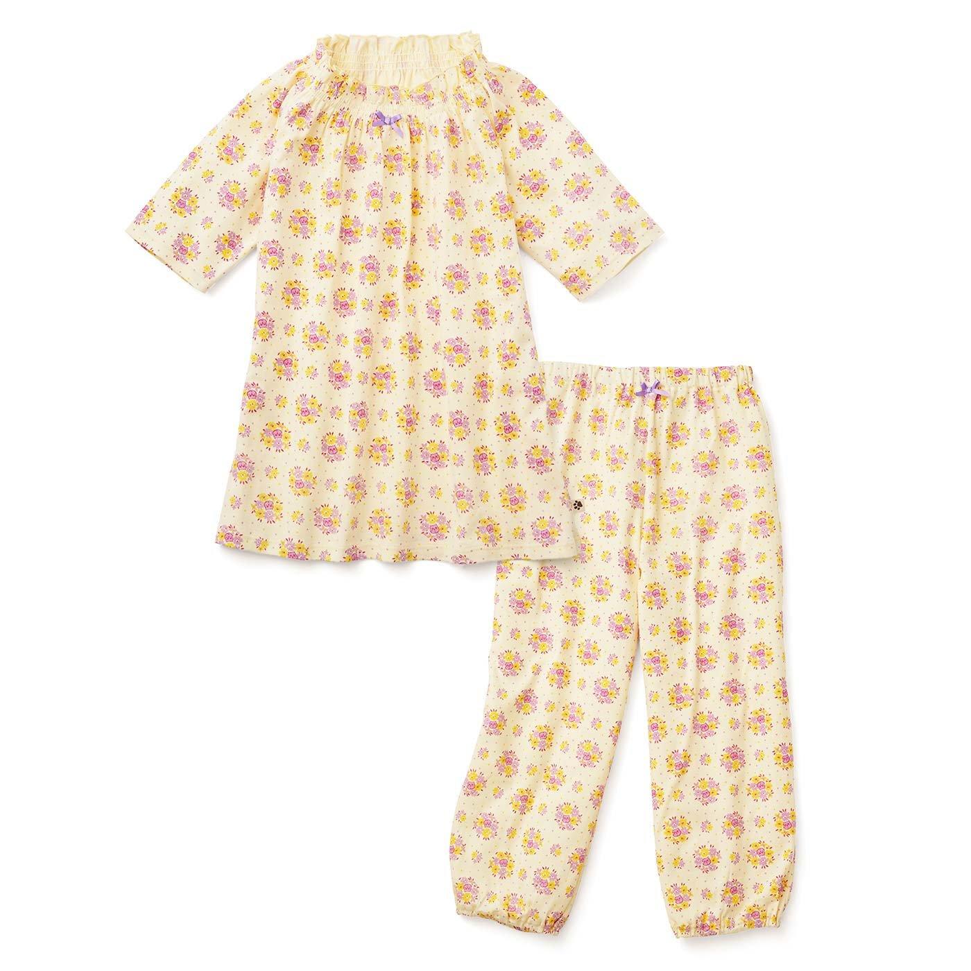 フェリシモキッズ×猫部 お花柄の中に猫がひそむパジャマ〈レディース〉〈イエロー〉