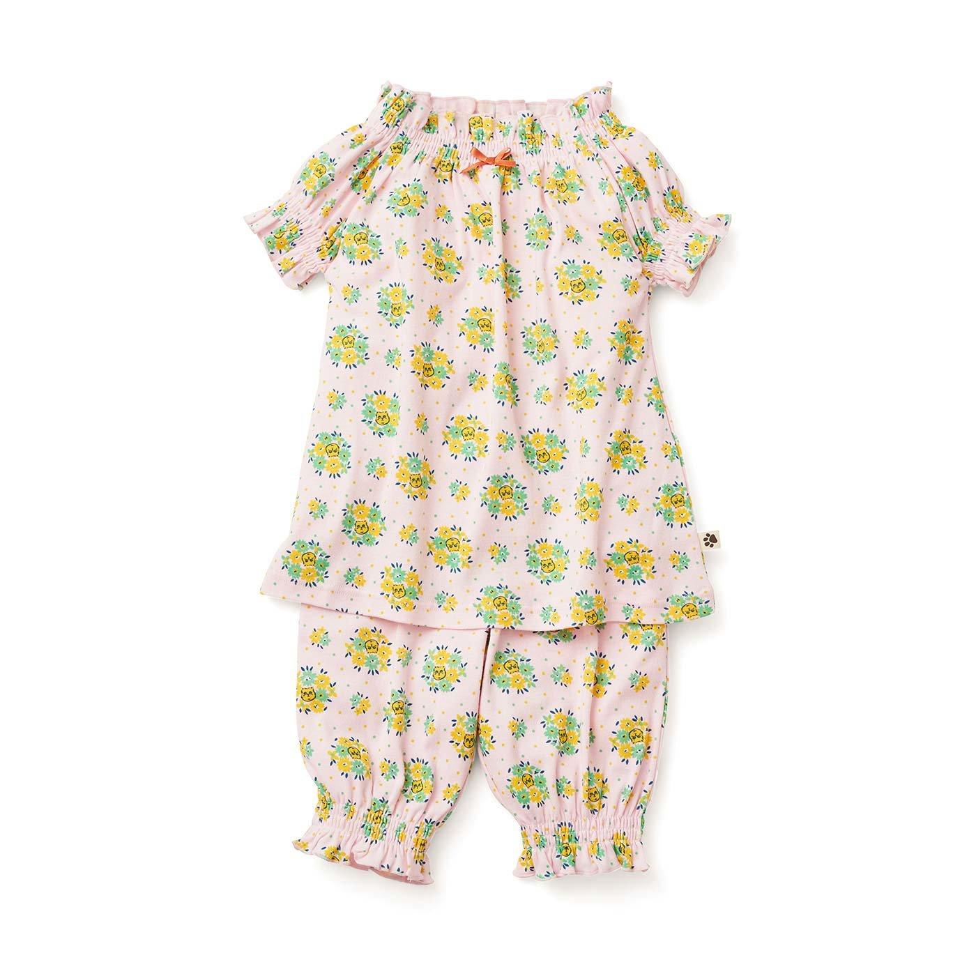 フェリシモキッズ×猫部 お花柄の中に猫がひそむパジャマ〈ガールズ〉〈ピンク〉