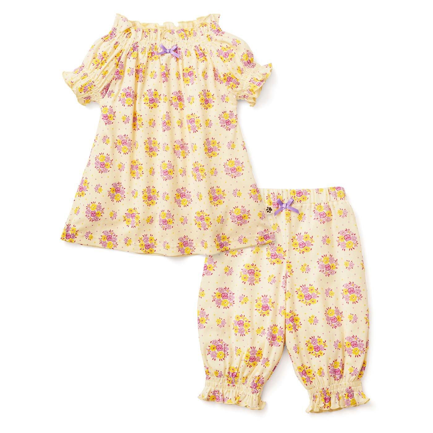 フェリシモキッズ×猫部 お花柄の中に猫がひそむパジャマ〈ガールズ〉〈イエロー〉