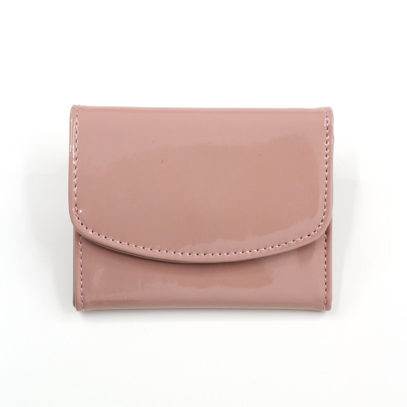 フェリシモ IEDIT[イディット] SELECT エナメル調の折りたたみミニ財布〈ピンク〉