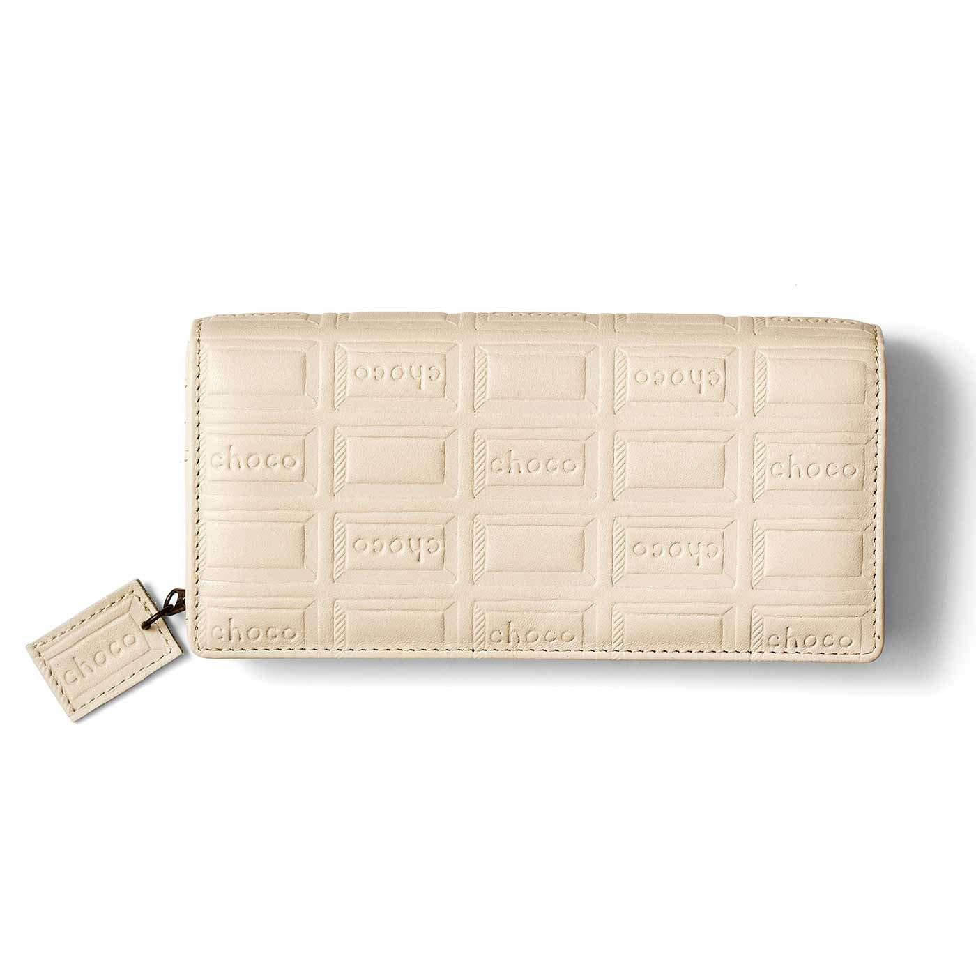 復刻! 本革チョコ柄のバイヤー長財布〈ミルクチョコホワイト〉[本革 財布:日本製]