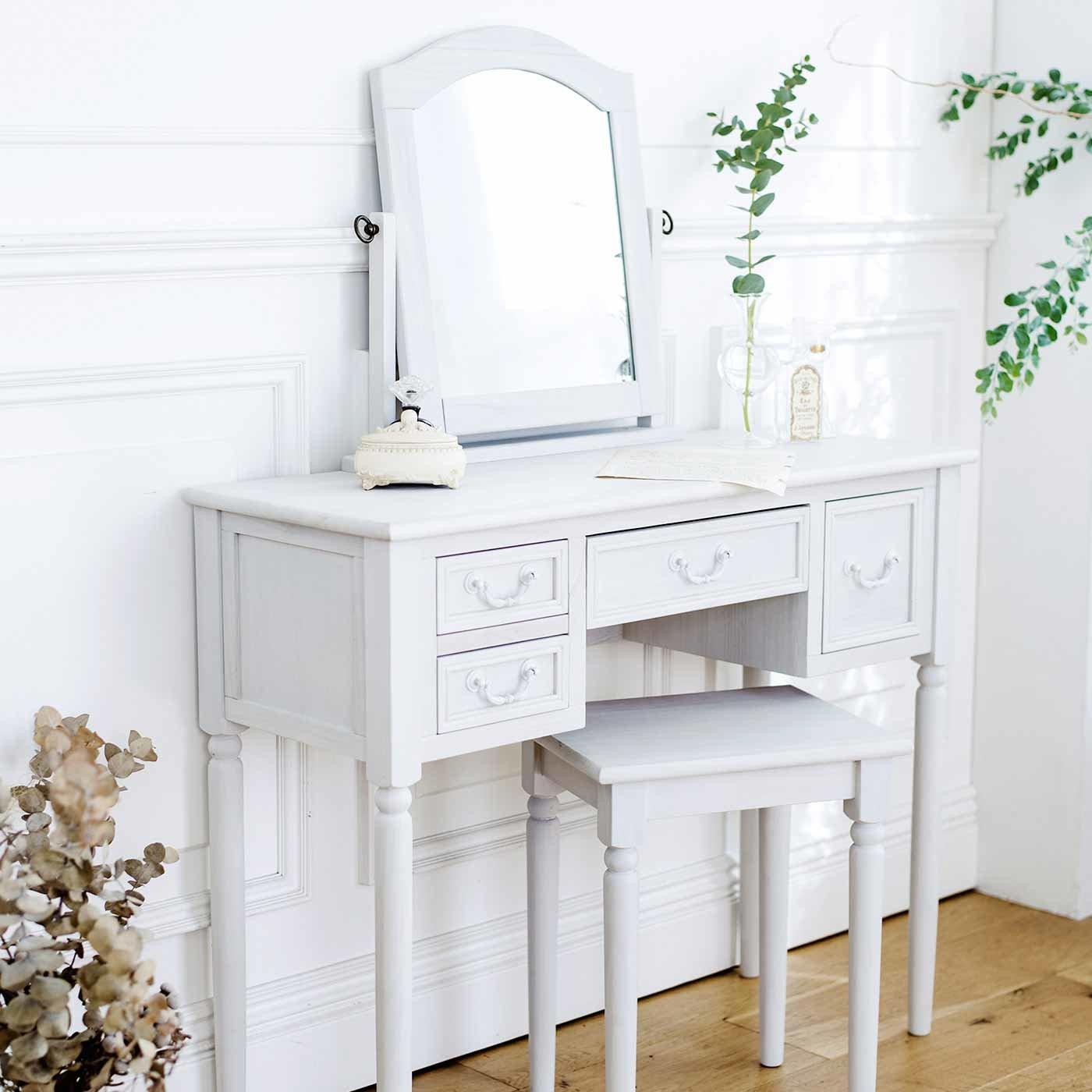 私らしい心地のいい家具 上品スリムドレッサー〈ノーブルホワイト〉