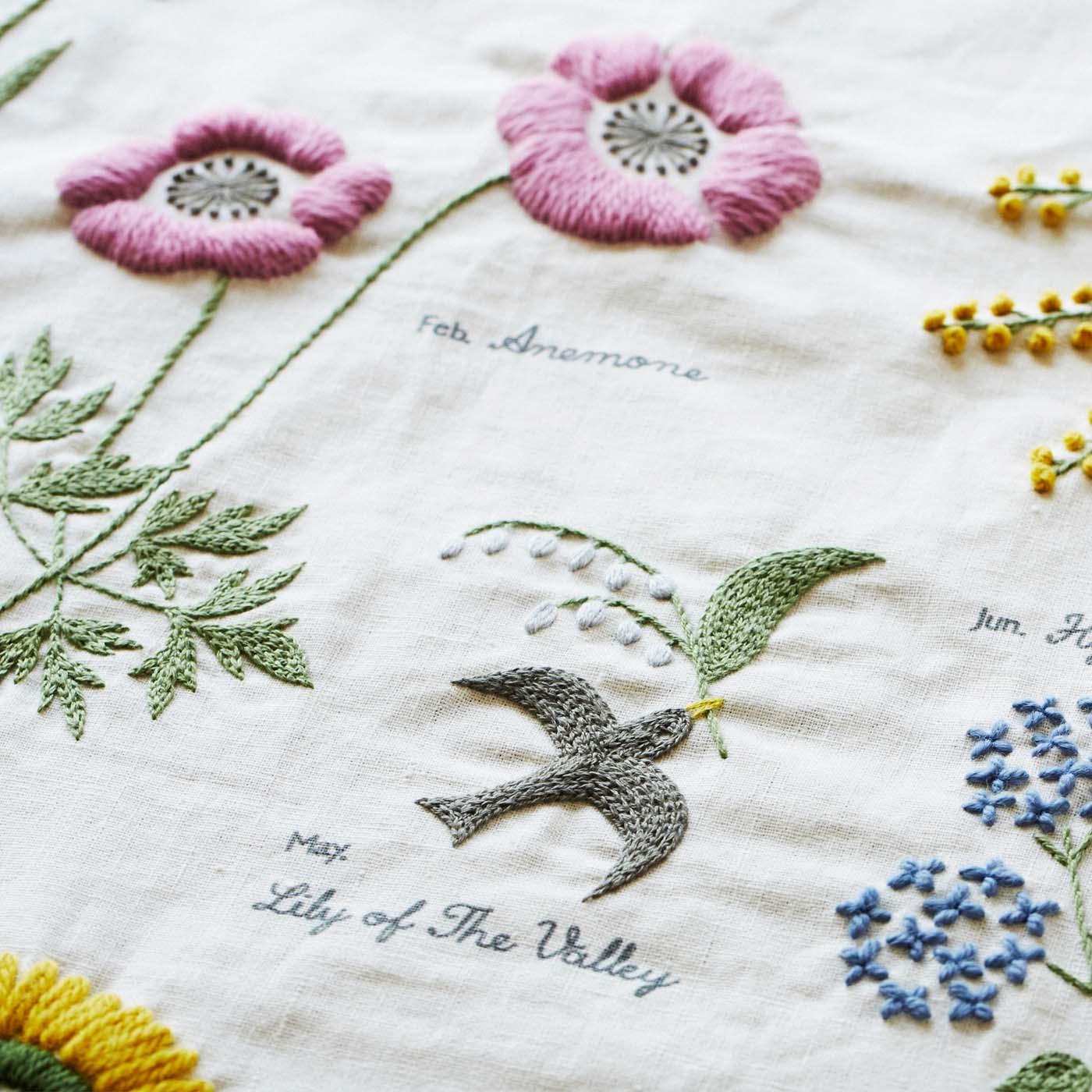 さまざまなステッチやウール刺しゅう糸のふんわり感が、作品に表情を生みます。