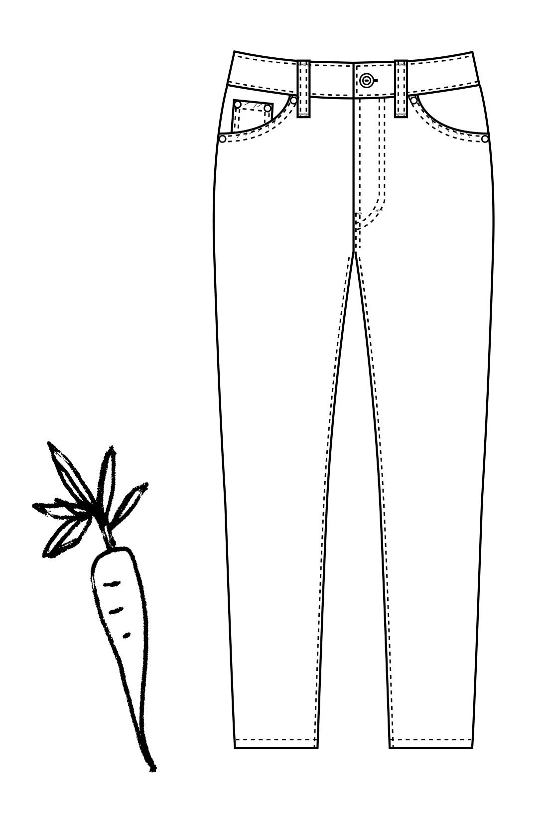 キャロパード(R)=「キャロット」+「テーパード」すそに向かってしゅっときれいに細くなるにんじんみたいなシルエット。「キャロパード(R)」はフェリシモの登録商標です。