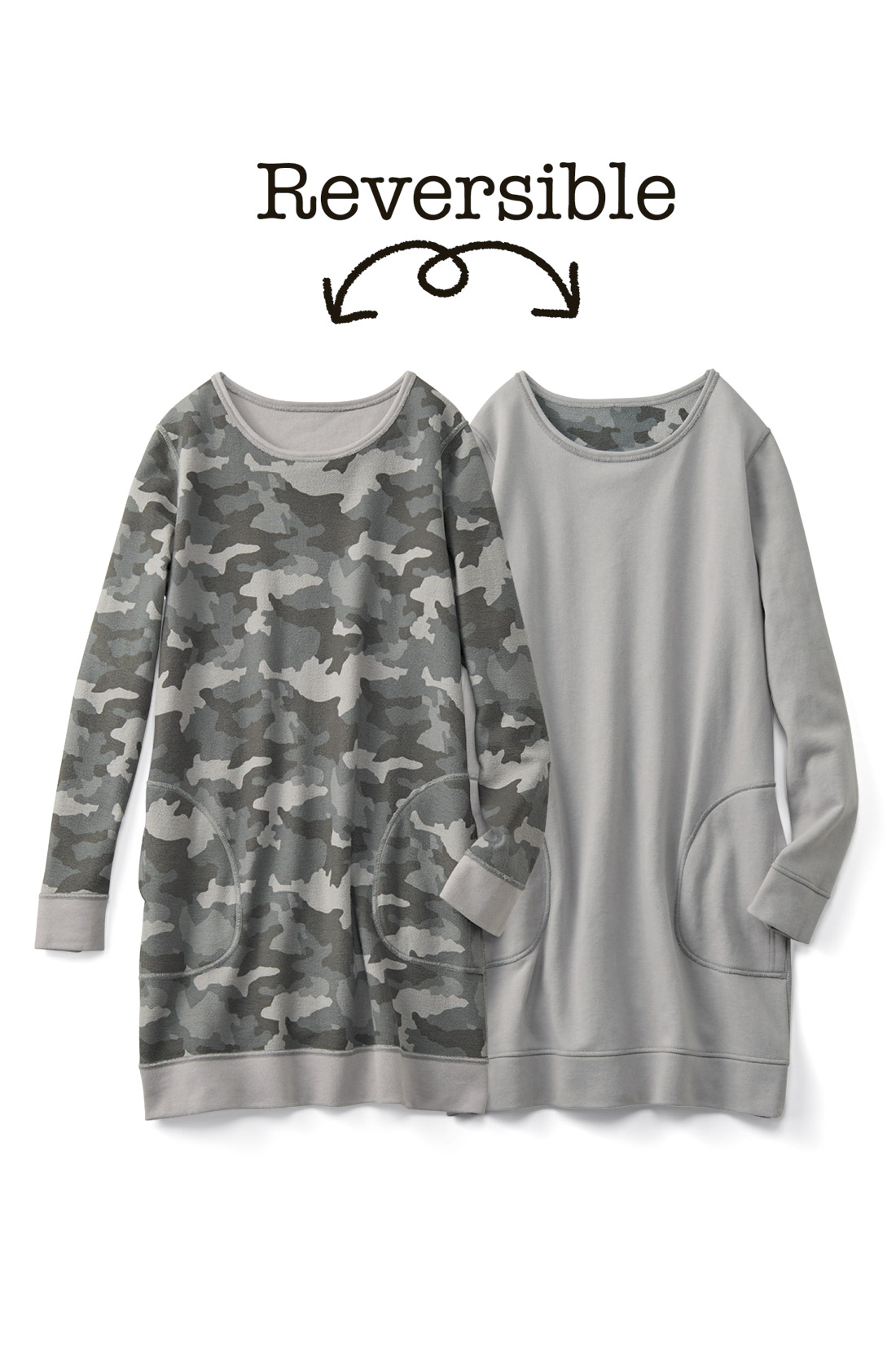 着やすい彩りの【カモフラグレー】両面に便利なポケット付き。