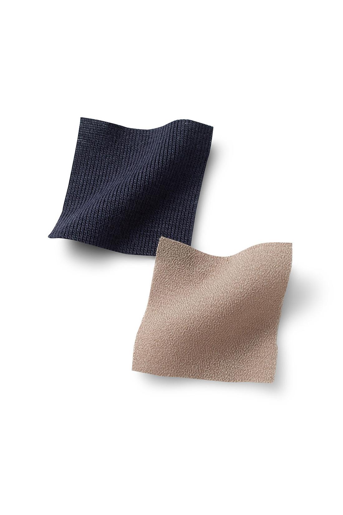 シャツは凹凸のある表面感がさらっとこなれるトレンドのアムンゼン素材。胸当て部分は伸縮性のあるフライスカットソーでフィット感があって安心。