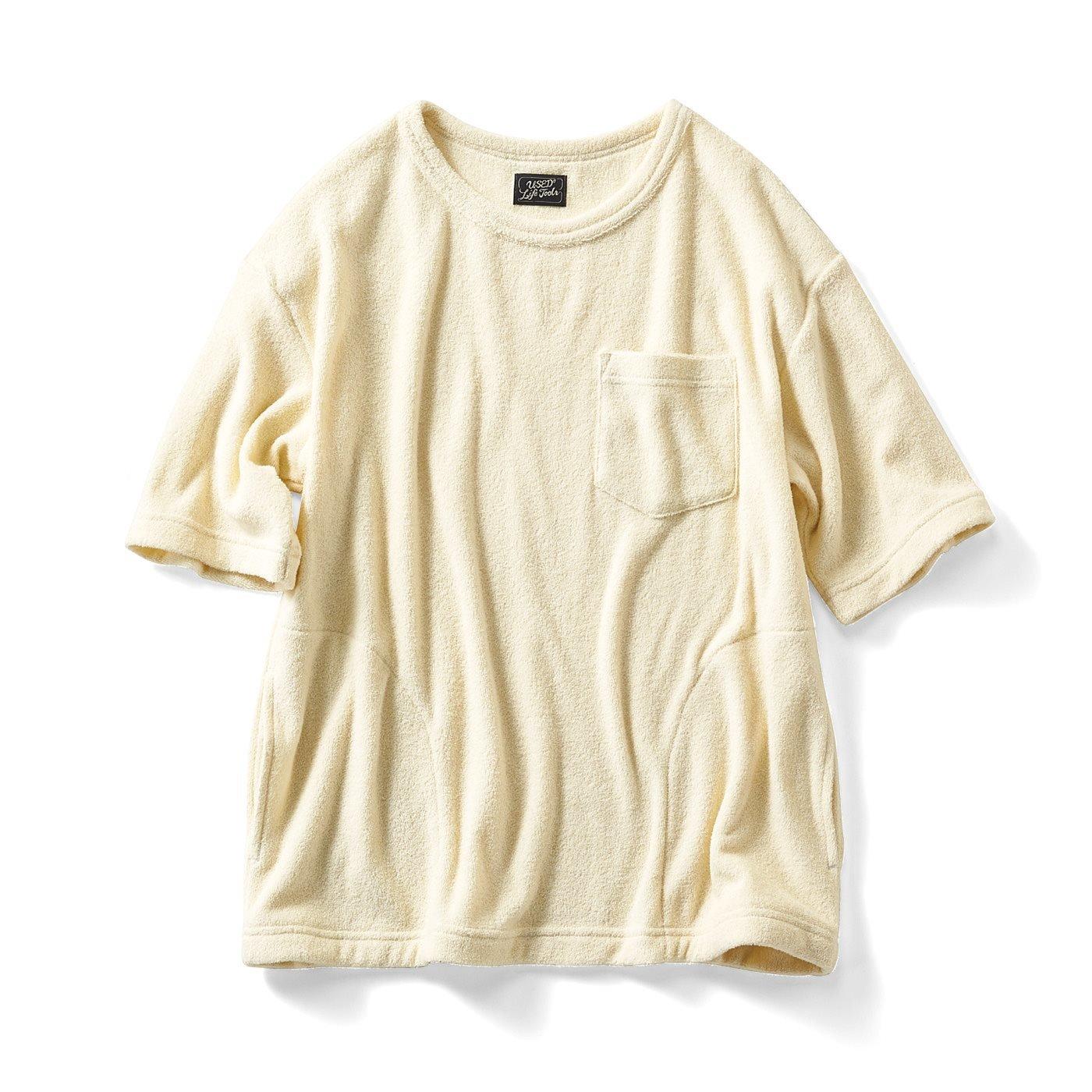 古着屋さんで見つけたようなパイルのゆったりTシャツ〈チャコール〉