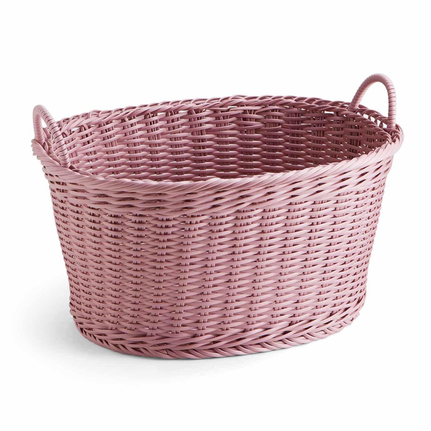 タフに使える手編みバスケット〈ピンク〉