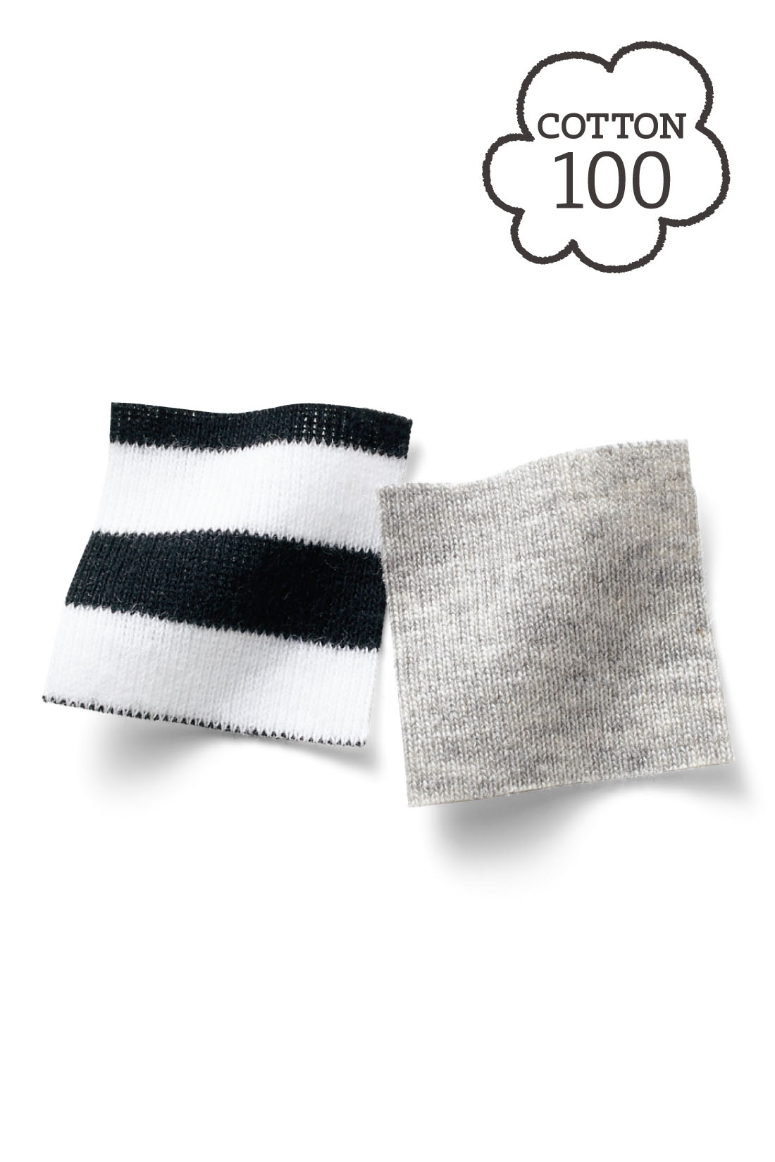 伸びやかで着心地のいい綿100%のフライス素材。 ※お届けするカラーとは異なります。