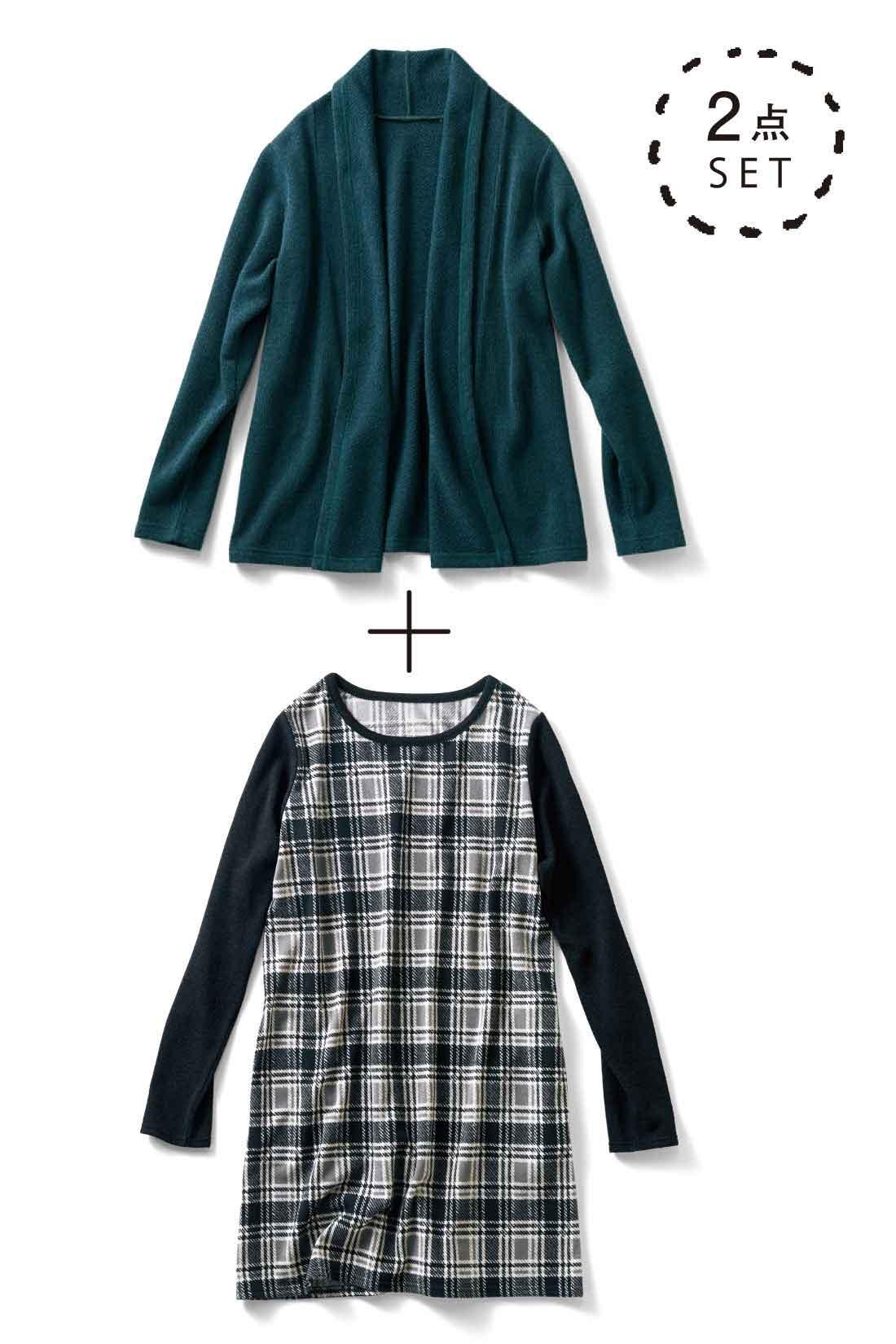 衿もとから前立てにかけて出るドレープのボリュームで、すっきりIライン。 衿ぐりと袖は濃色の切り替えでスタイルアップ。
