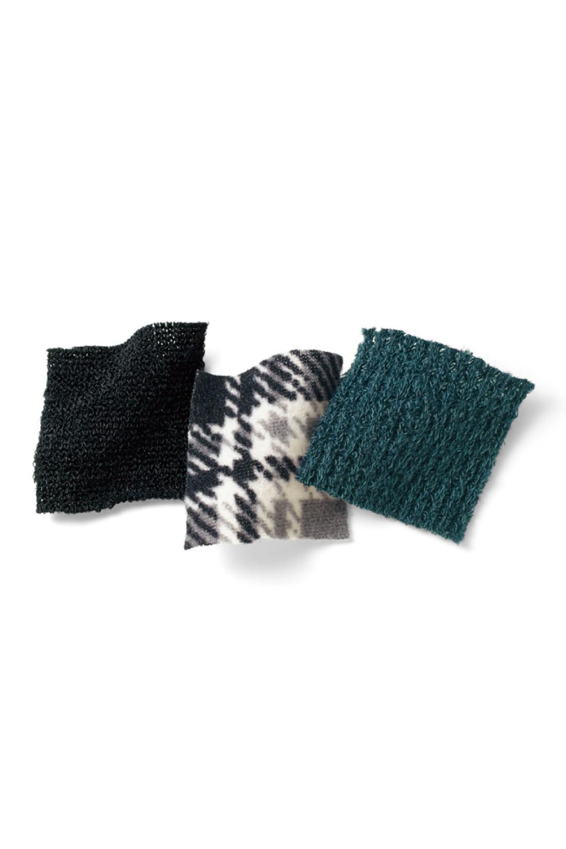 落ち感がきれいなカーディガンは、縦うねの表面感がきれいなニットソー。チュニックの身ごろは、暖かみと上質感のあるほどよい厚みの起毛カットソー。袖は無地でメリハリ感アップ。