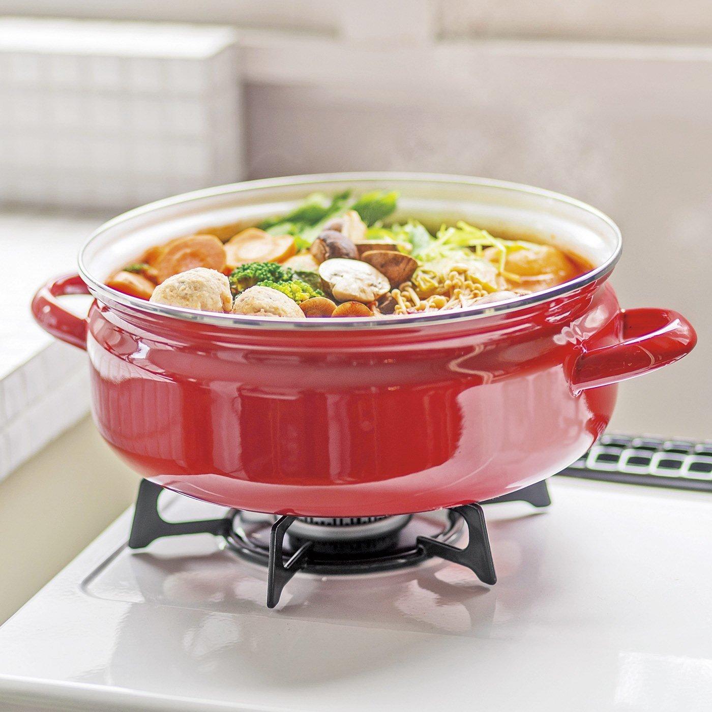 食欲もテンションもアップ!デイリーユースなガラスぶたの赤い両手鍋