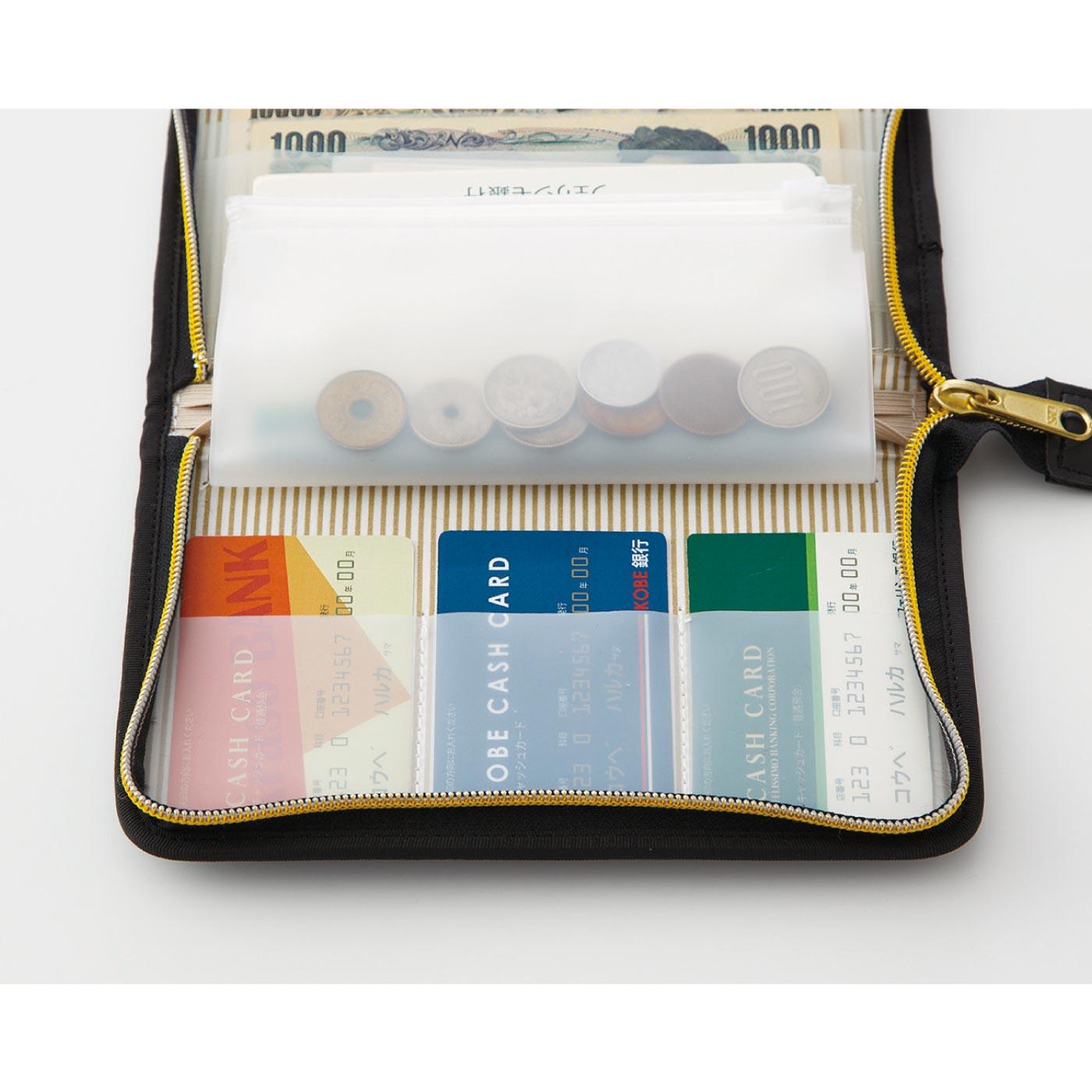振込用紙や小銭などが入るファスナーポケットと3つのカードポケット付き。