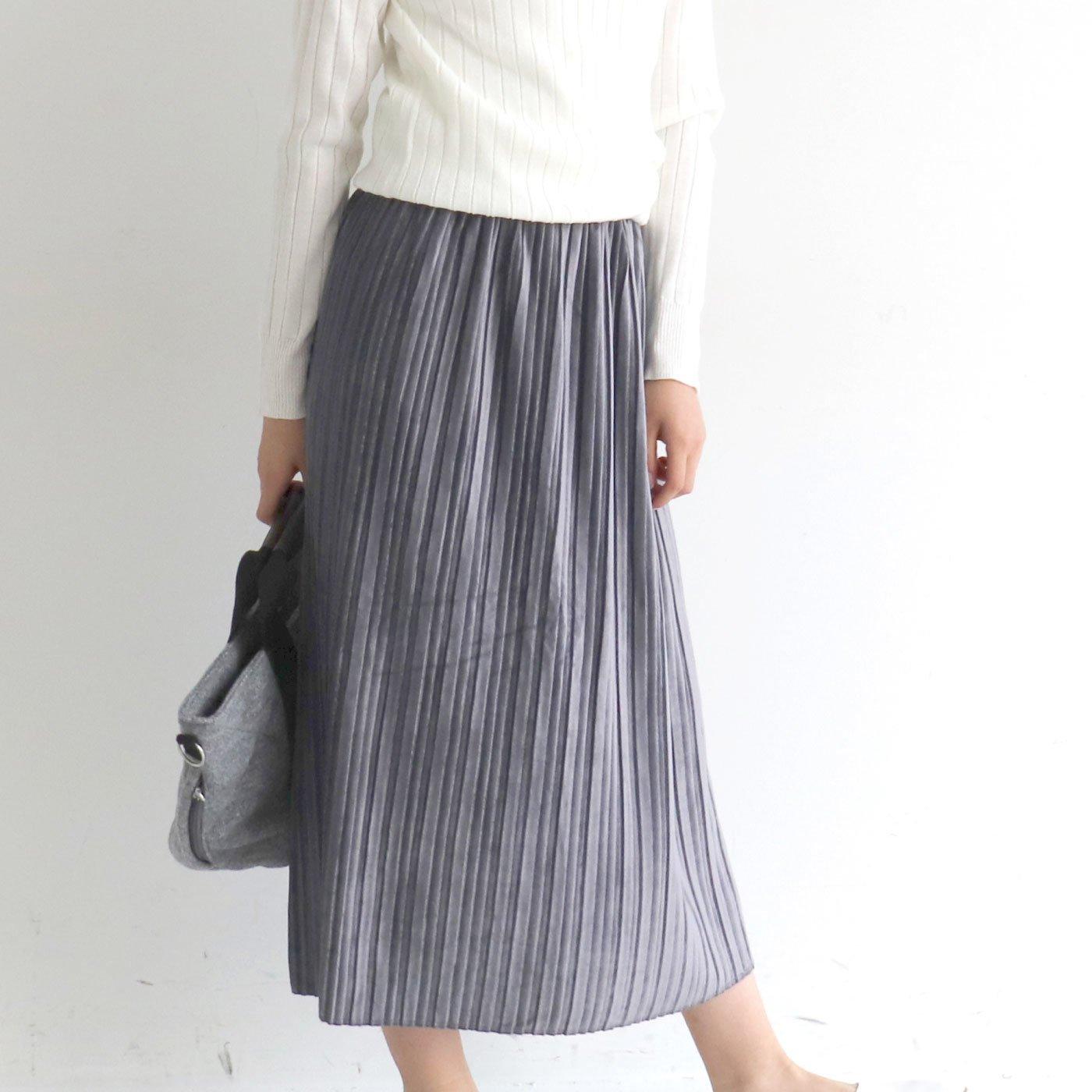 クローゼットカプリ 上品に使いまわせる ベロア調プリーツスカート