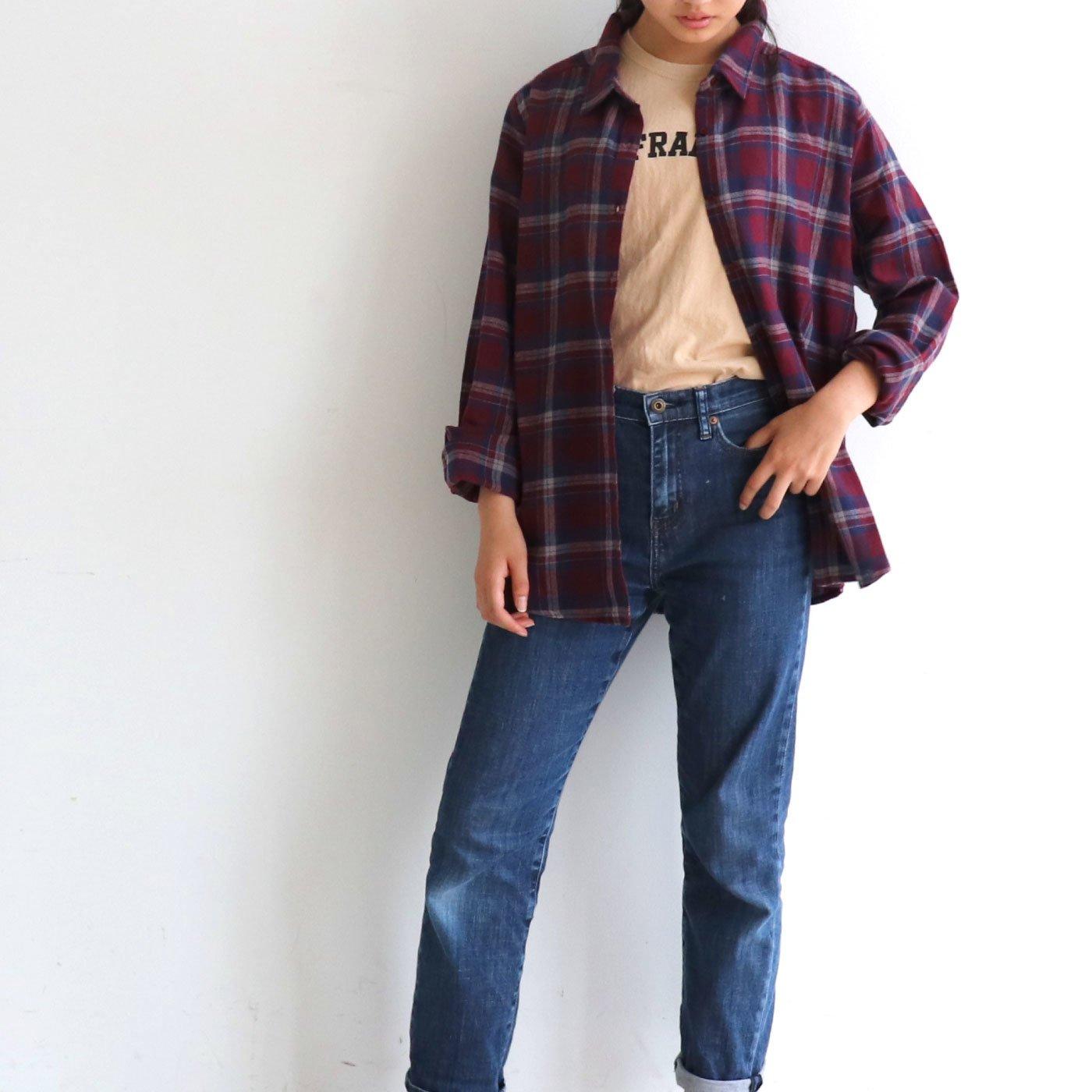 クローゼットカプリ ネル素材がかわいい 大人カラーミックスの先染めチェックシャツ
