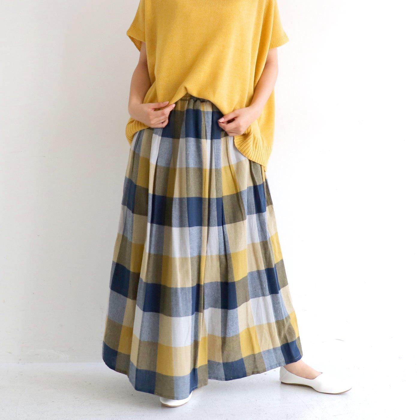 クローゼットカプリ ネル素材がかわいい ふわっとAライン 大判チェックロングスカート