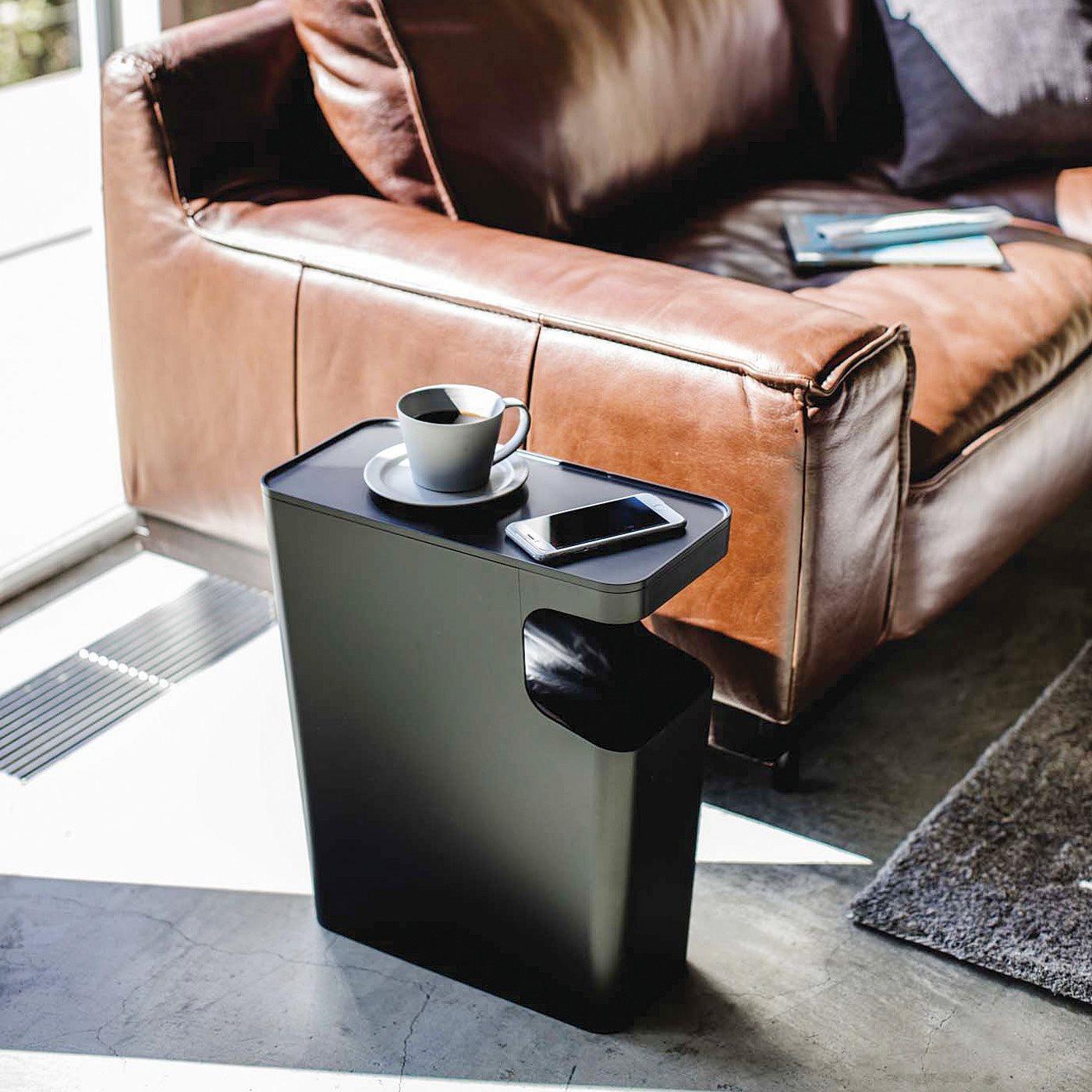 サイドテーブルとして使えるシンプルダストボックス〈ブラック〉