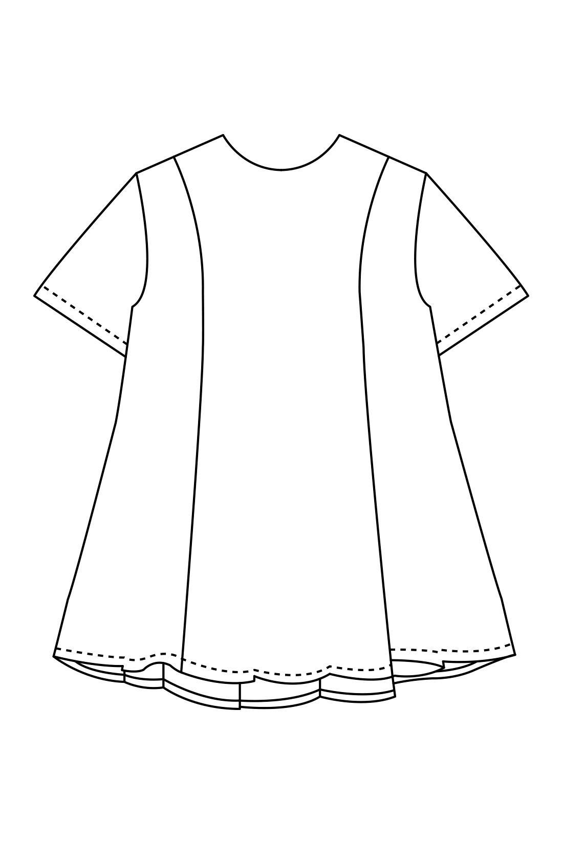 ウエストにふれないほどボリューミーなAライン。袖にも広がりを持たせて、立体感と涼しさをたっぷりと。