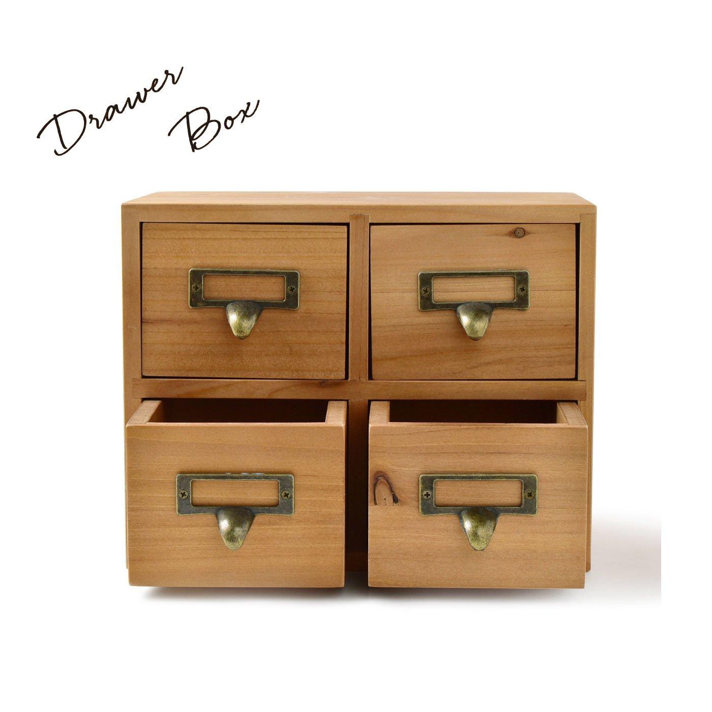 あたたかみのある 木製アンティーク風 ドローワーボックス