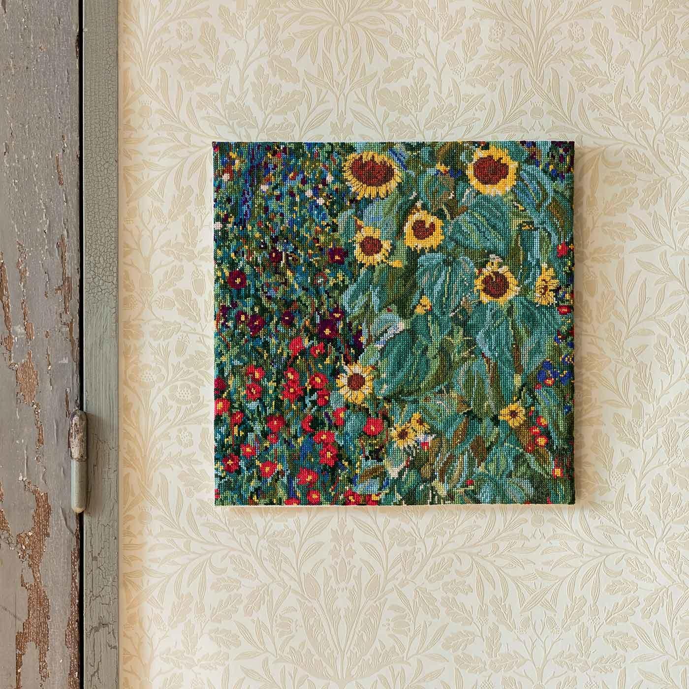 鮮やかな色彩美 クリムト 「FARM GARDEN WITH SUNFLOWERS」クロスステッチキット