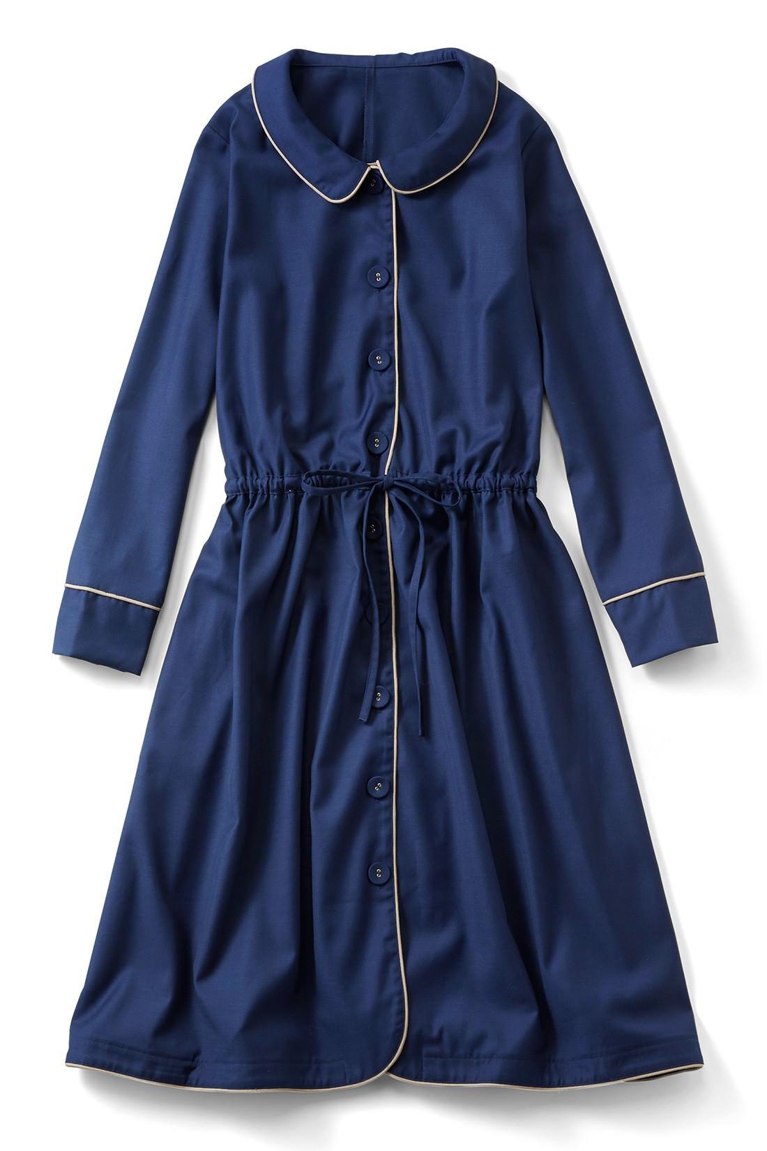 """シンプルなデザインなのにパイピングだけでパジャマ風に見えちゃうから不思議。スカートのボリューム感が""""ワンピース""""に見えるポイント。"""