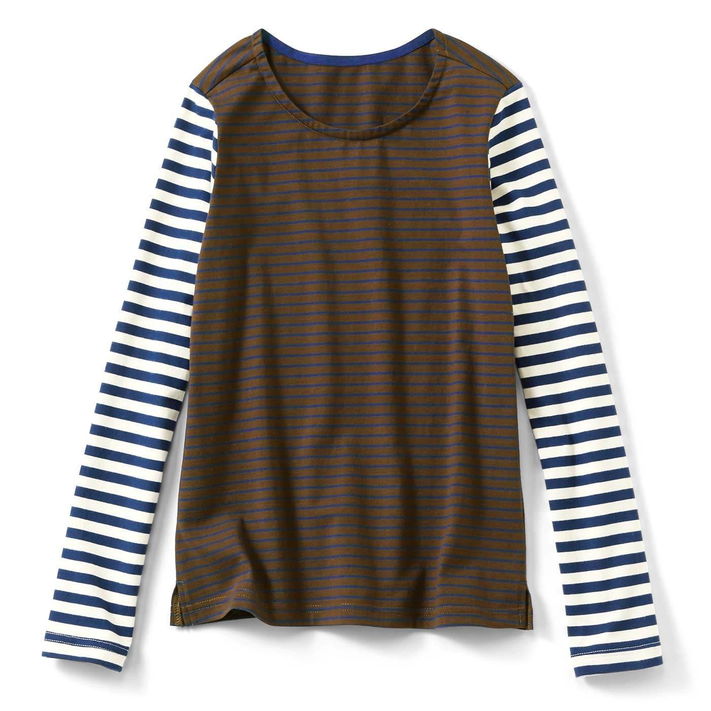 シンプルアクセントになる 配色ボーダーTシャツ〈トラッド〉