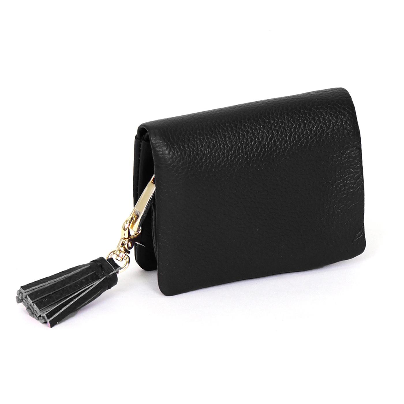IEDIT[イディット] SELECT やわらか艶レザーで手になじむ 長く使いこみたい本革ミニ財布〈ブラック〉