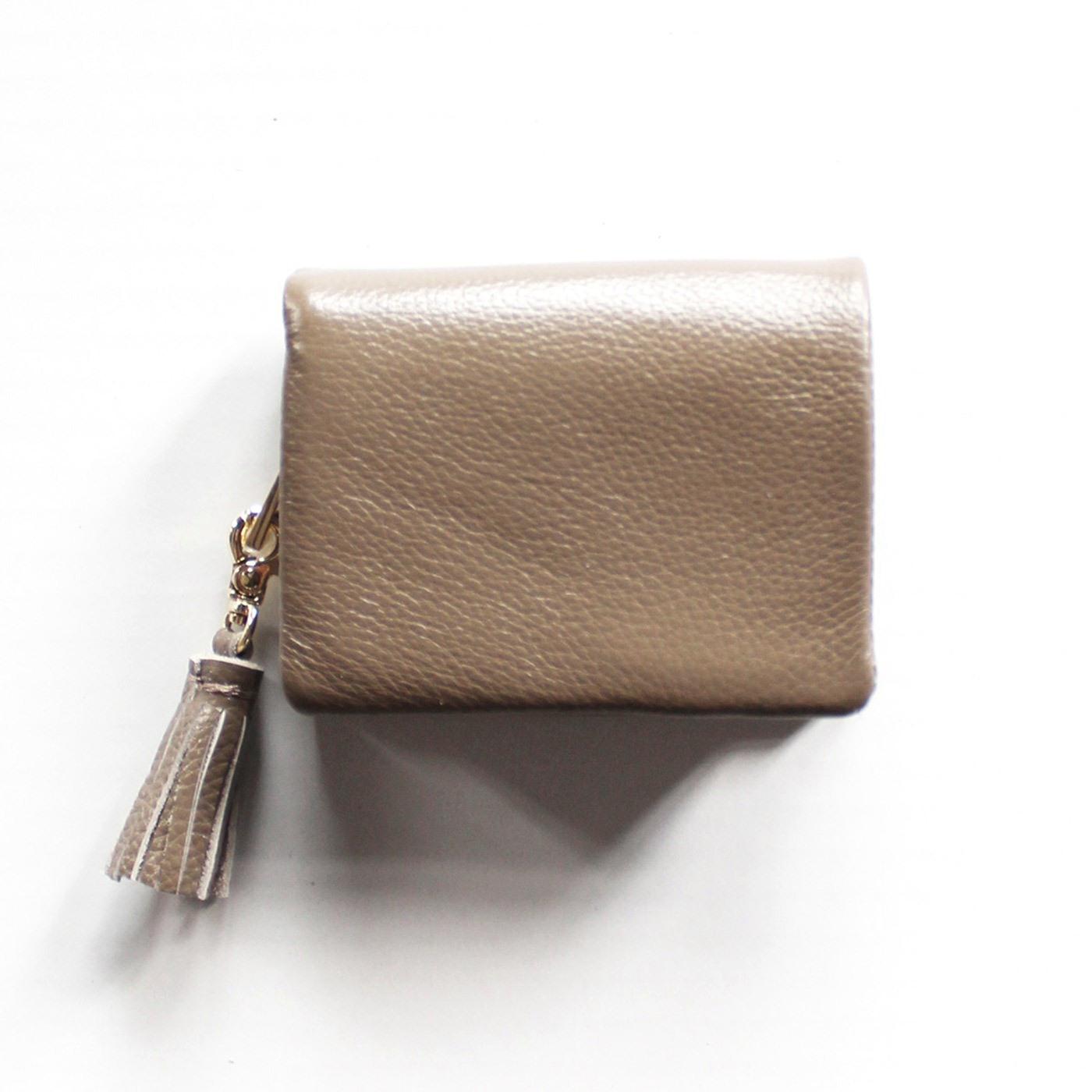 IEDIT[イディット] SELECT やわらか艶レザーで手になじむ 長く使いこみたい本革ミニ財布〈グレー〉