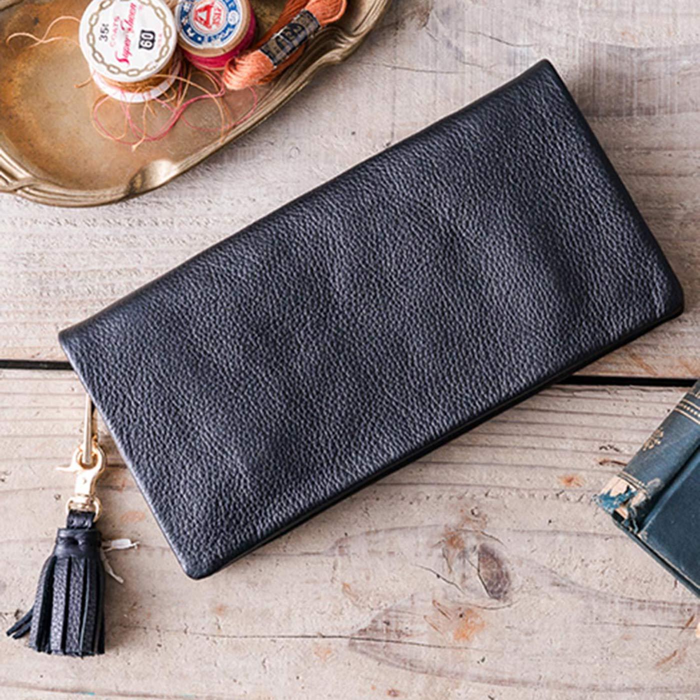 IEDIT[イディット] SELECT やわらかマットレザーで手になじむ 長く使いこみたい本革長財布〈ブラック〉