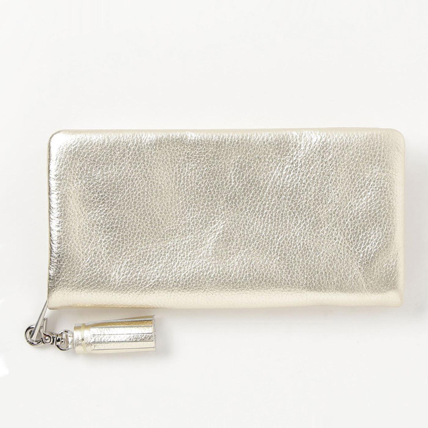 フェリシモ IEDIT[イディット] SELECT やわらかマットレザーで手になじむ 長く使いこみたい本革長財布〈ゴールド〉