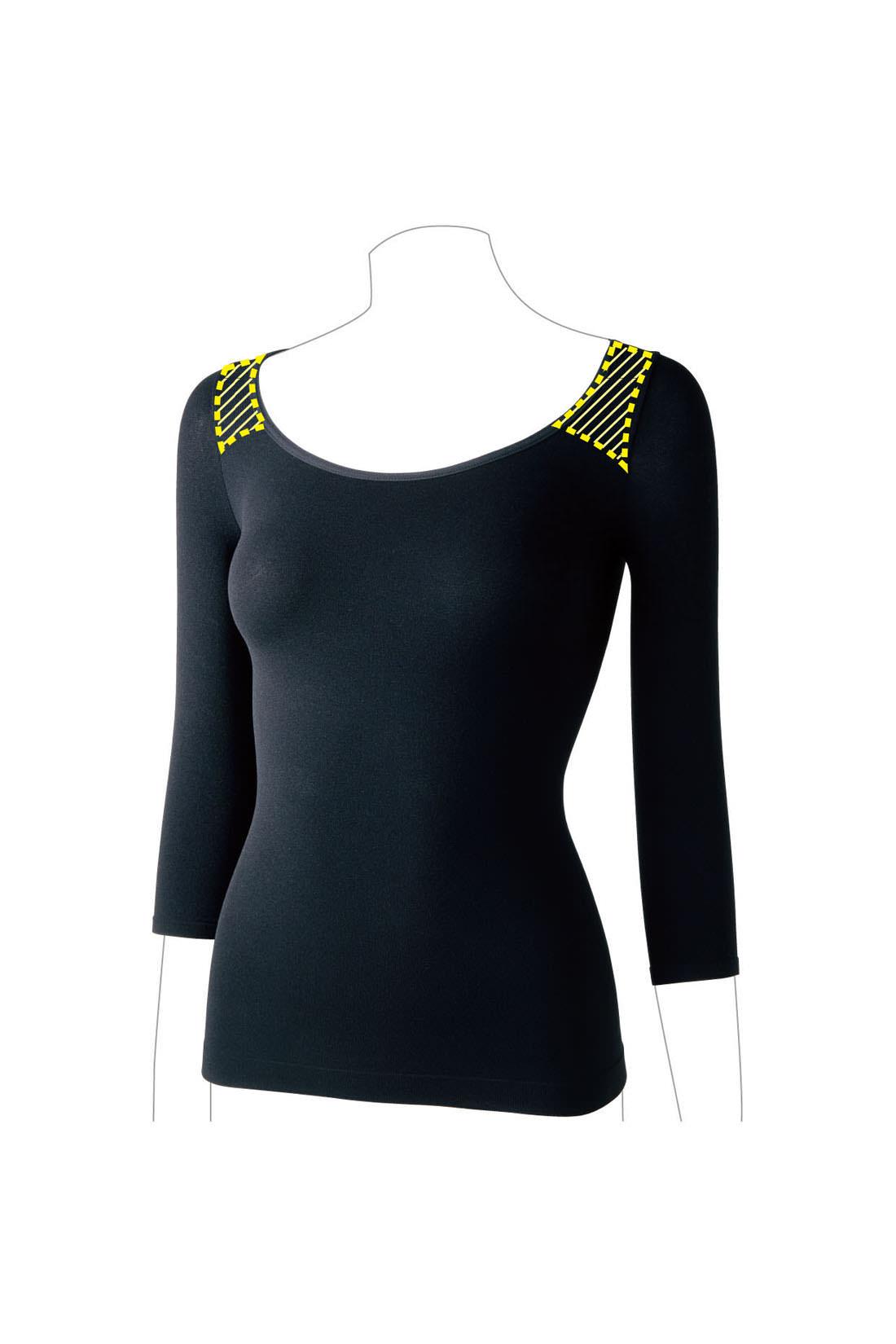 【正面】アウターに合わせやすい広めの衿ぐりに使いやすい七分袖。オールシーズン着用できる、薄手でほどよいフィット感。