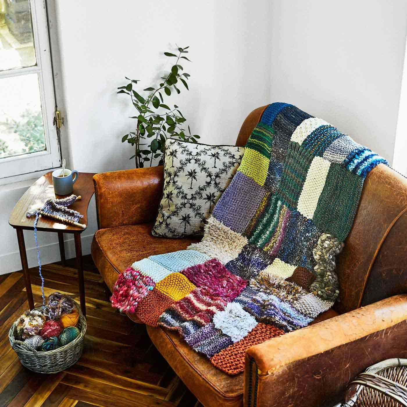 変わり糸でまっすぐ編んでつなげよう 棒針パッチワーク風編み物の会