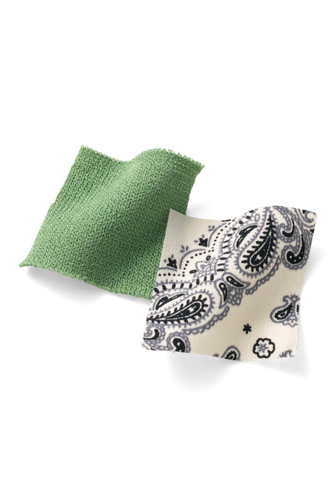 シャリッとした質感の薄手のニット素材と、透けにくいバンダナ柄の布はく素材の組み合わせ。