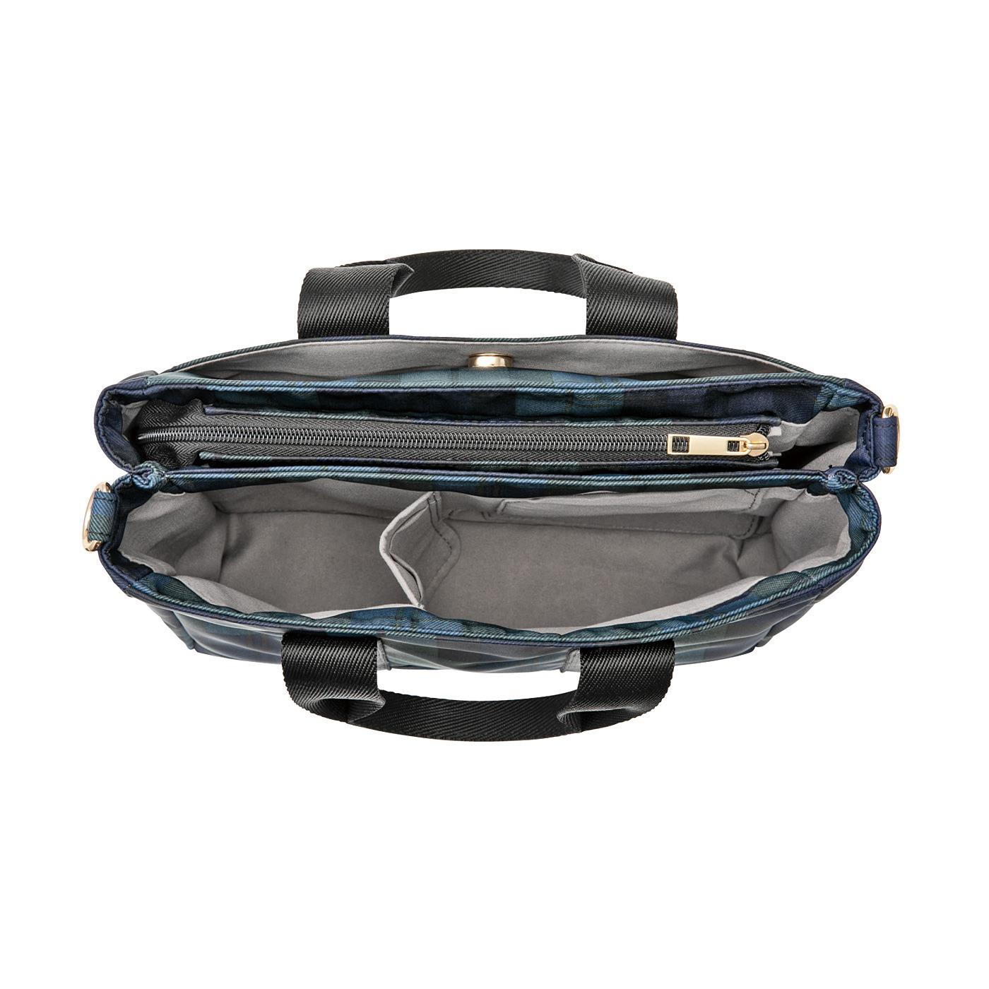 L'AMIPLUS[ラミプリュス] ラミプリュス 荷物を仕切ってすっきり収納 Tトート〈ブラックウォッチ/ミニ〉 大きな仕切りはファスナー付きで目隠しOK。中には内ポケットが2個。