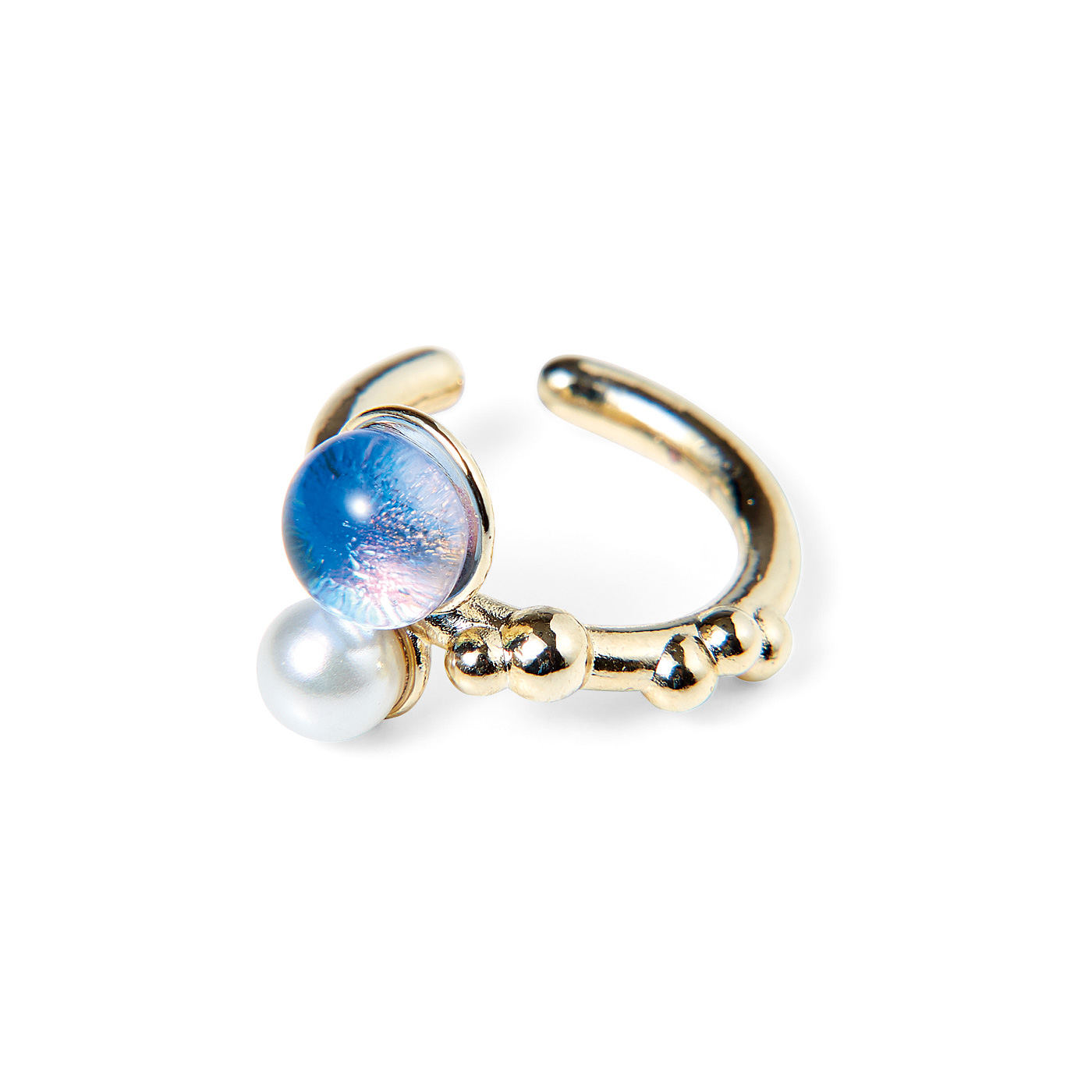 CCP [シーシーピー]|きらめく粒の手づくりガラスとパールの自然モチーフイヤカフ〈片耳〉の会|〈水玉〉
