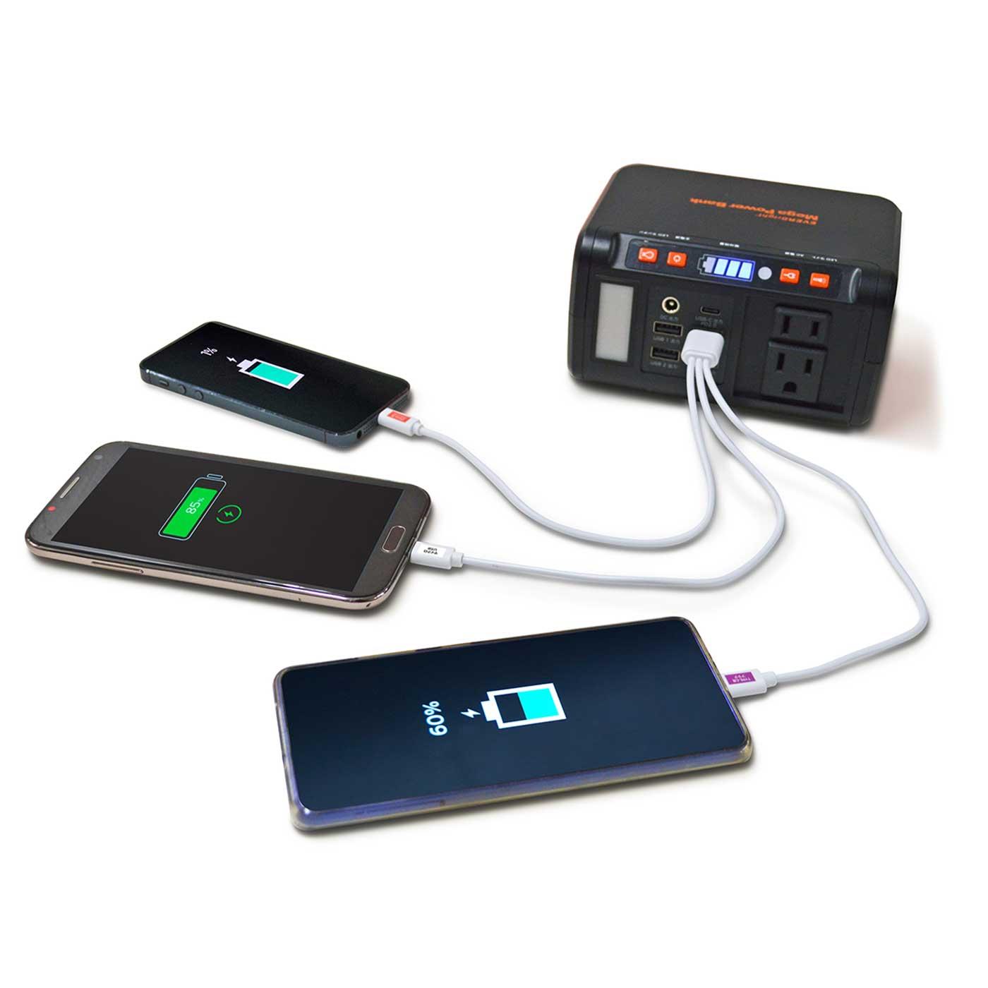 Kraso[クラソ]  いざというときの電源確保!電池要らずの家庭用小型蓄電池 大容量パワーバンク AC出力やUSB出力、DC出力まで完備。さまざまなプラグを接続できます。