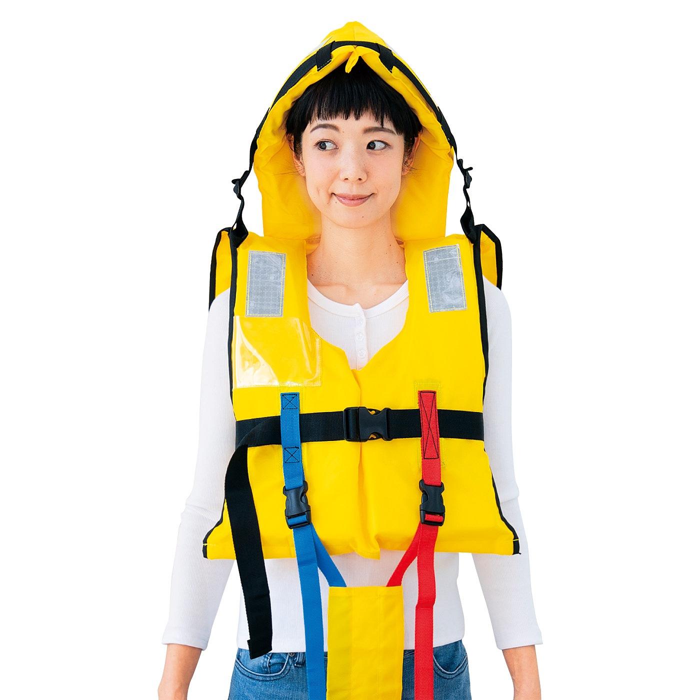 Kraso[クラソ]  防護頭巾付きで頭もガード 水害対策に備えたい ライフジャケット大人用〈150cm~〉